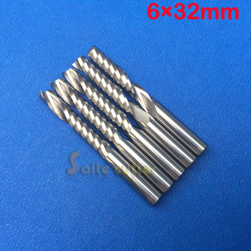 Free Shipping 5 Pcs Carbide Endmill Single Flute Spiral CNC Router Bits 6mm 32mm