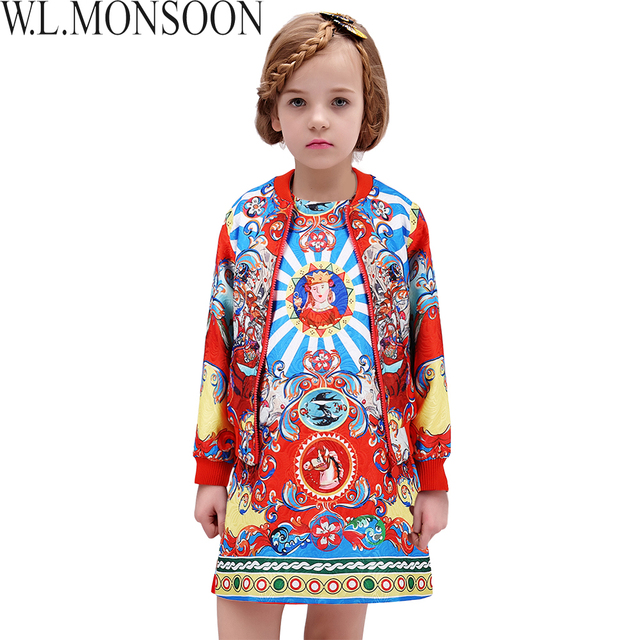 Girls Boutique Clothing 2016 Kids Clothes Designer Girls Outfits Autumn Vetement Fille Kids Tracksuit Girls Clothes (Coat+Dress)
