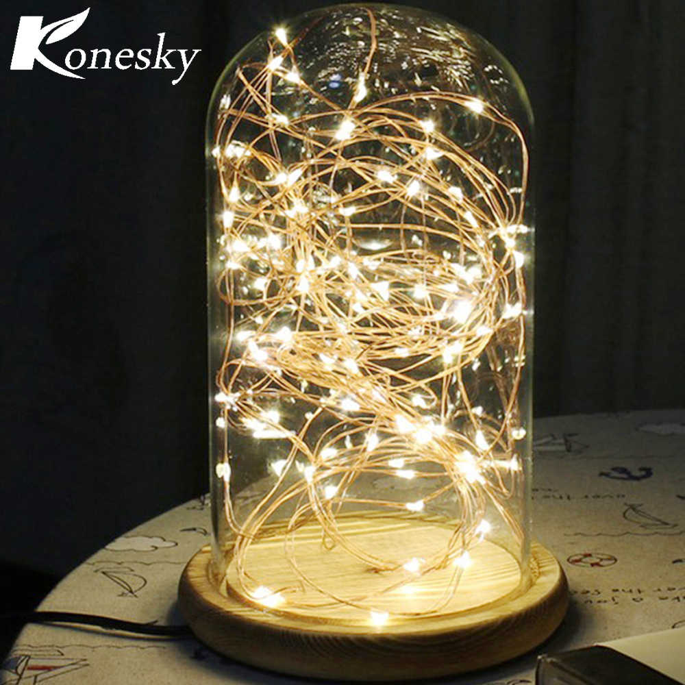 5m 50 Led Copper Wire String Lights Night Light Holiday Lighting For Garland Fairy Christmas Tree Wedding Party Decoration