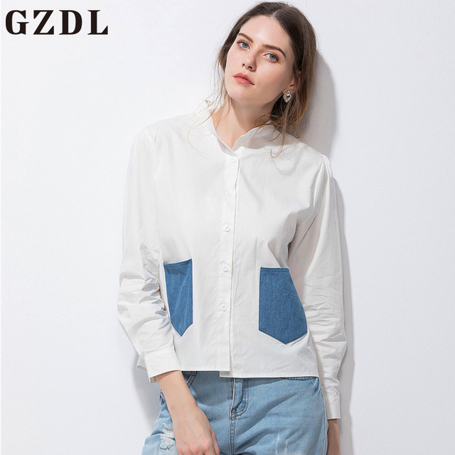 d190472e GZDL White Chiffon Fashion Women Stand Collar Blouse Shirt Long Sleeve  Pockets Top Casual Ladies Button Front Tops Blusas CL3925