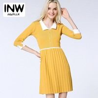 2018 New Arrival Pleated Vestidos Women Fashion Fall Sweater Dress Female Three Quarter Knitted Dresses Mujer