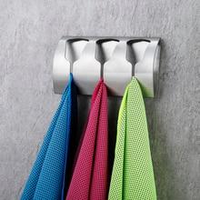 лучшая цена Strong Self Adhesive Triple Towel Holder Towel Rack Stainless Steel Coat Hook Eruopan Bathroom Accessories Wall Hanger Hat Hook