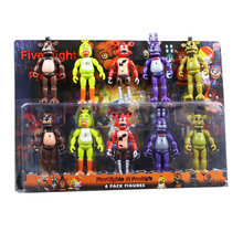 5 Pcs/ Lot 5.5 Inch FNAF Five Nights At Freddy's PVC Action FigureS Toy Foxy Gold Freddy Chica Freddy With 2 Color LED Lights
