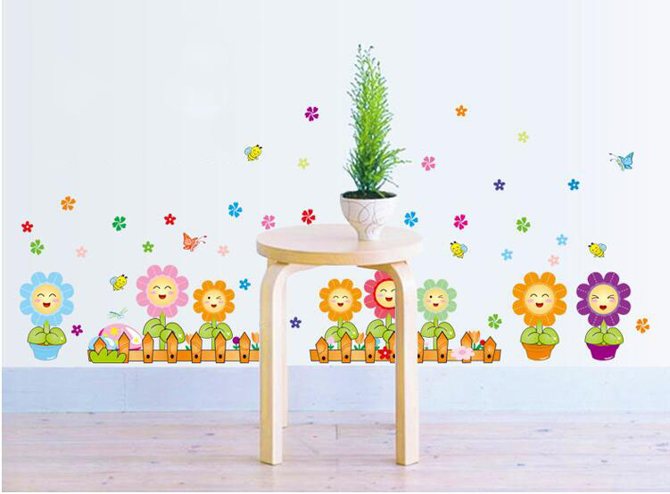 Diy fence colorful sun flower butterfly art wall stickers for Colorful kitchen wall decor