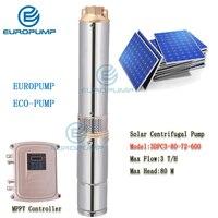 EUROPUMP MODEL(3DPC3 80 72 600) 3 DC Submersible Solar Water Pump 72V 600W Bore Hole Mini Irrigation Kits(Head 80m, Flow 3T/H)
