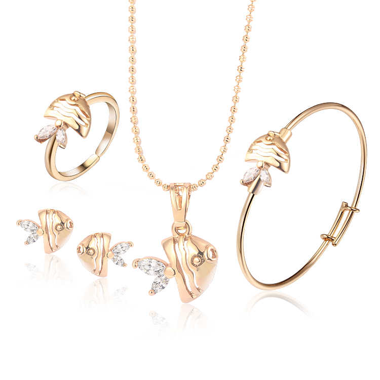 Baby Jewelry Sets Gold-Color Earrings Ring For Children Heart Pendant Necklace Set Bracelet Kids Gift  4S18K-54