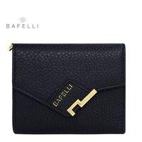 BAFELLI mujeres cuero genuino carpeta corta simple cerrojo carteras dinero clip de las mujeres de negocios negro carpeta de las mujeres de marcas famosas