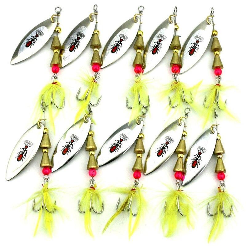 KKWEZVA 5ks 7cm 5,5g Kovová spinnerová lžíce Rybářská návnada Tvrdá návnada Flitry Hluk Paillette s peřím Treble Hook Tackle