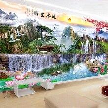 Qianzehui、diyダイヤモンド刺繍、ラウンドダイヤモンド流水風景フルラインストーン 5Dダイヤモンド塗装クロスステッチ、針仕事
