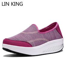 Купить с кэшбэком LIN KING Summer Women Swing Shoes Thick Sole Height Increase Wedges Shoes Ankle Platform Shoes Plus Size Travel Casual Sneakers