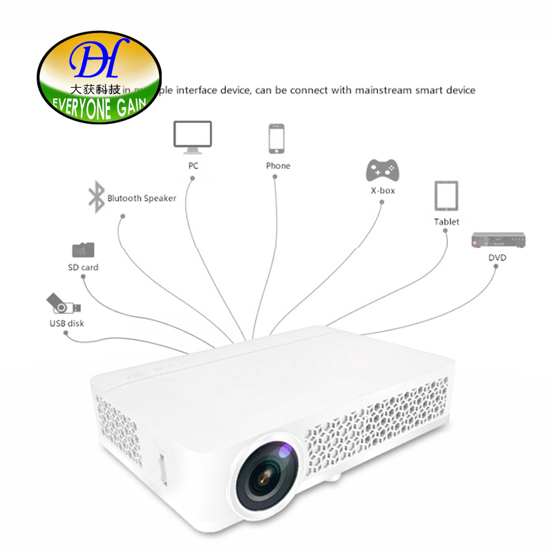 Everyone Gain 3D Short Focus Projector Full HD DLP LED Android Proyector Home Theater support TV Build-in Speaker DH-3DAi Beamer everyone gain blu ray 3d smart android projector wifi bt dlp tv led home theater proyector with touch button dh a70 beamer