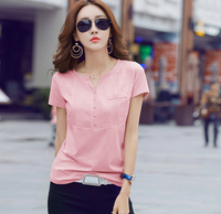 Summer White T Shirt Women V Neck Short Sleeve Fashion Plus Size T Shirt Cotton Linen
