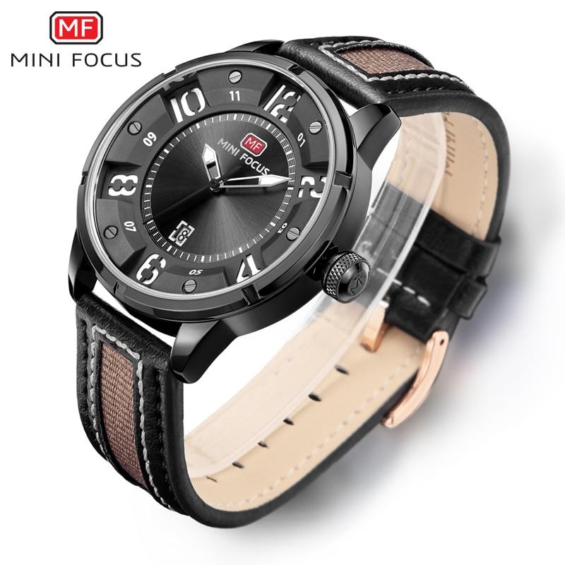 MINI FOCUS Brand Watches Men Fashion Casual Leather Military Men's Watch Waterproof Quartz Wristwatches Dive Relogio Masculino цена