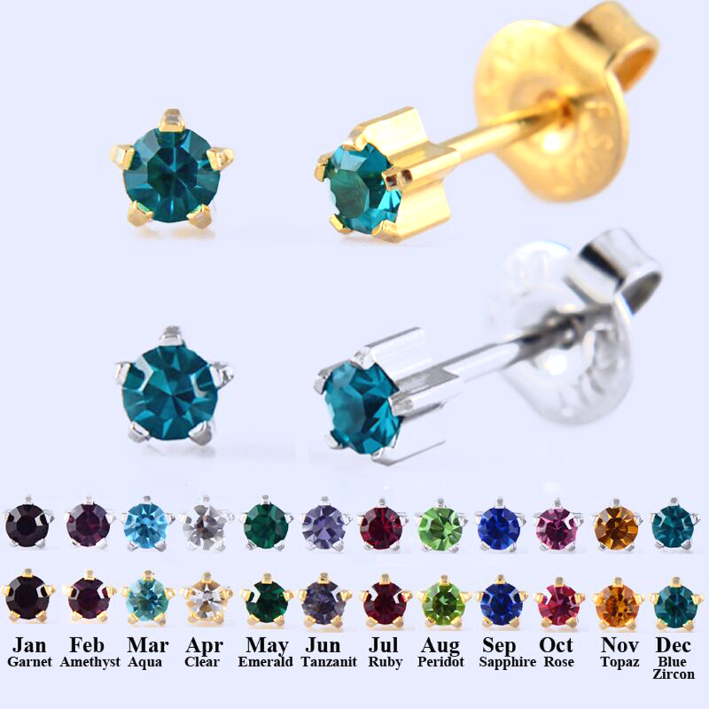 c655ee228 Aliexpress.com : Buy BOG Pair New 24K Gold Plating&Silver Mix Birthstone CZ  Ear Stud Earrings Studs Claw Setting Cubic Zircon Ear Tragus Cartilage from  ...
