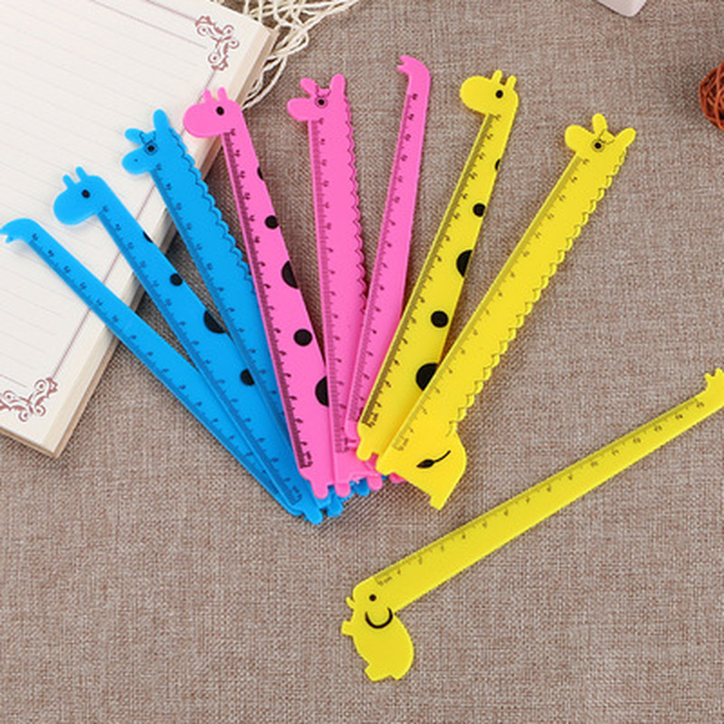 1PCS Giraffe Ruler Cute Rulers Novelty Stationery Kawaii Student Design Ruler Set Of Drafting Rules Stationery School Supplies