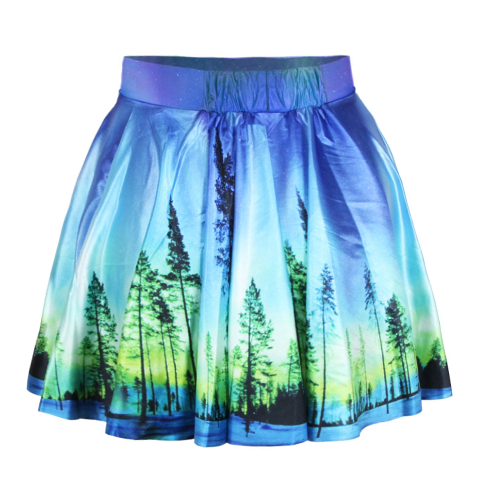 17e498072684 Pretty Women Girl Sexy 3D Forest Stretchy Flared Pleated Skater Short Skirt  Lovely Cute Mini Casual Skater Skirt Party Daily-in Skirts from Women's  Clothing ...