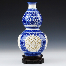 Jingdezhen ceramic blue hollow gourd vase classical modern and stylish living room decoration decoration