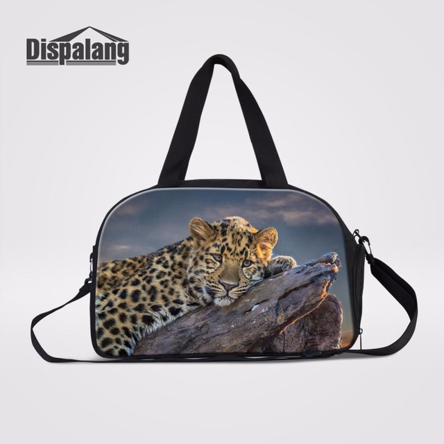 Dispalang Leopard Prints Travel Luggage Bag Weekend Casual Duffle Independent Shoe Bit