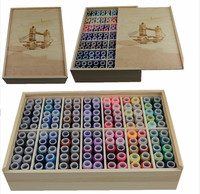 140 colors Wood Box Sewing Kit Needle Tape Scissor Multifunction Threads Sewing Tools Accessory For Home Travelling
