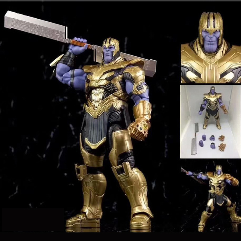 7 pouces 18cm 2019 film Marvel Avengers 4 Endgame SHF Thanos Action Figure Infinity gantelet jouets poupée pour cadeau