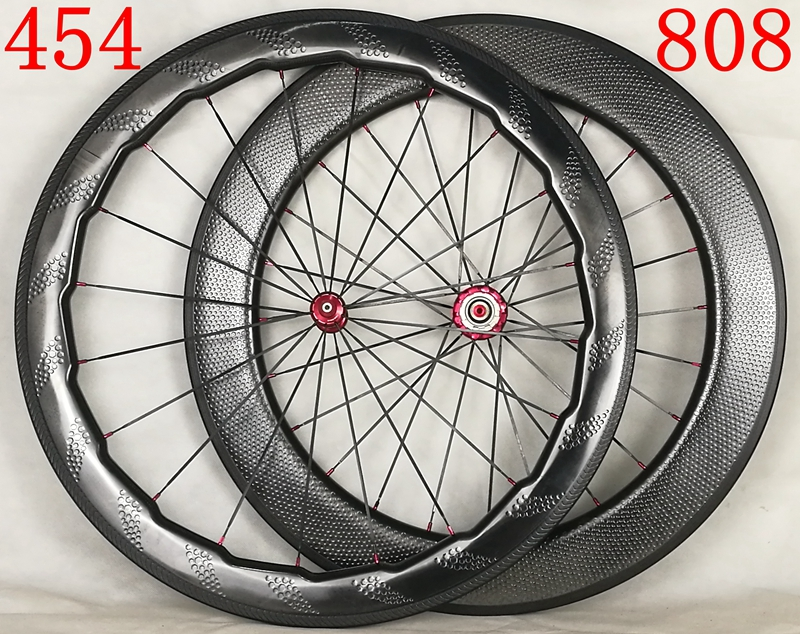 Tubeless 454+808 Full Carbon T700 58mm+80mm 700C Road clincer dimple carbon wheels,clincher bike wheel,bicicleta wheelset 700c dimple surface carbon wheelset light weight 58mm depth clincher road bike wheels with bitex 306f 306 r hubs