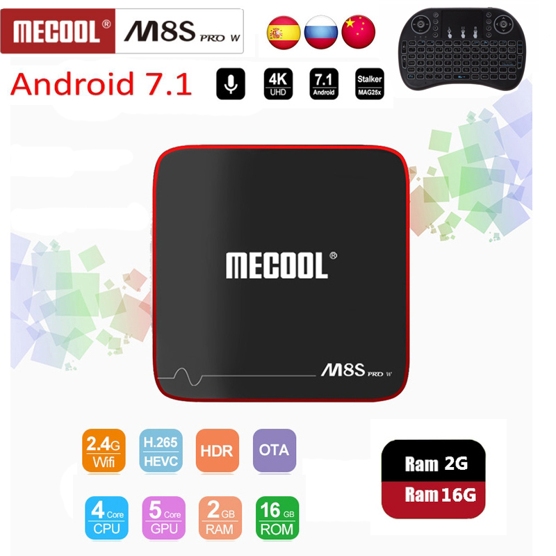 Mecool M8S PRO W Amlogic S905W 1/2GB RAM 8/16GB ROM Quad Core Voice Control ATV Smart Android TV Box Android 7.1 i8 keyboard