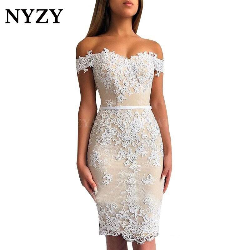 Elegant Sheath Crystal Lace Vestido Coctel Robe Cocktail Dress White Champagne 2019 NYZY C174 Party Dress Graduation Homecoming