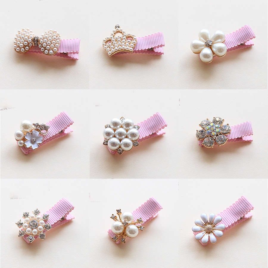 1PCS Children Hair Clips Crown Pearls Baby Hairpins Hair Accessories Pearl Bows Princess Hairpins Girls Headwear Kids Headdress 10pcs snow white sofia hrief princess anna elsa hair accessories cute kids bb hair clips flower crown rim hair bows 5