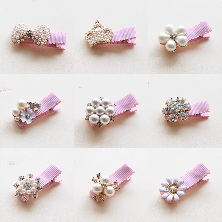 1PCS Children Hair Clips Crown Pearls Baby Hairpins Hair Accessories Pearl Bows Princess Hairpins Girls   Headwear   Kids Headdress