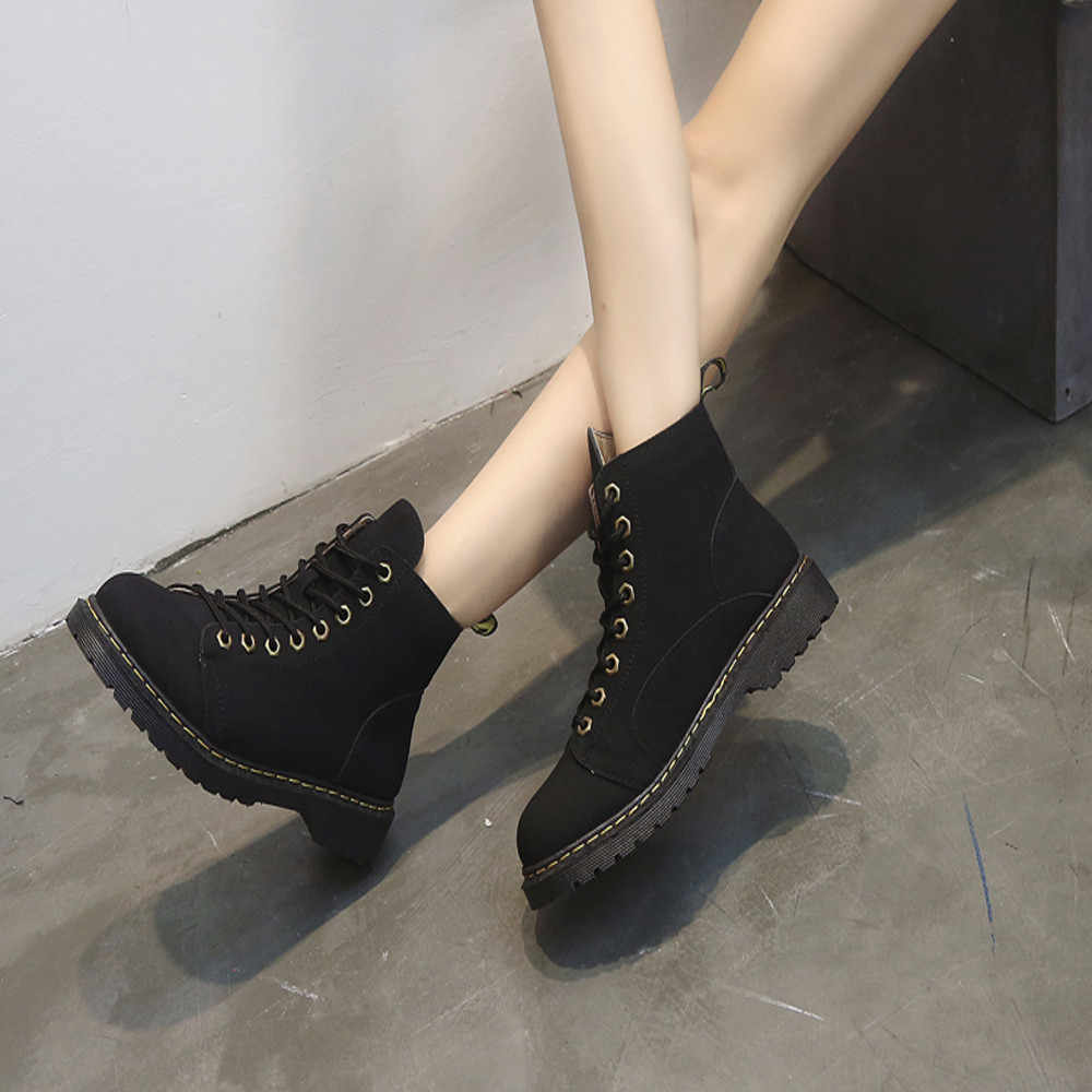 YOUYEDIAN/ботильоны для женщин на каблуке с круглым носком; обувь на плоской подошве; кожаные ботинки средней высоты; нескользящие ботильоны Martin; para mul # G30
