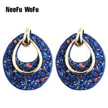 Leather Earring Large Long Water Drop Big Earrings Dangle Woman Flash Stone stick Brinco Fashion Ear Oorbellen Christmas Gift