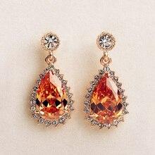 Luxury Royal Vintage Bohemia Big Water Drop Earrings Champagne Cubic Zirconia Crystals Long Dangle Earrings Women Party Jewelry