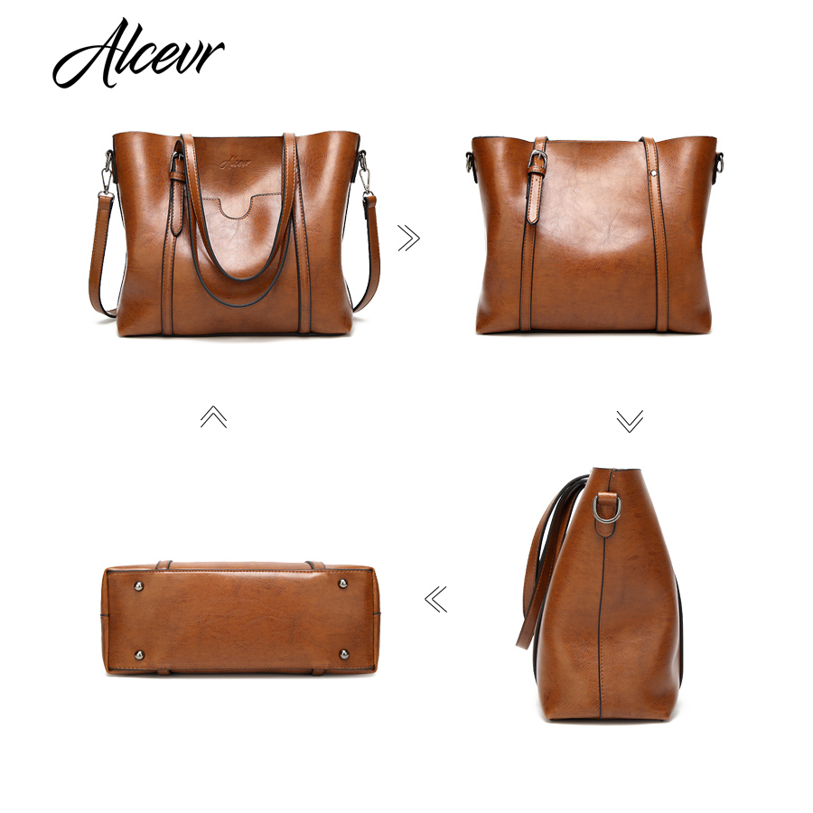 Alcevr Women Bag Luxury Handbags Outlet Tote Shoulder Soft Leather High Capacity Vintage Designer Handbag Famous Brand In Top Handle Bags From