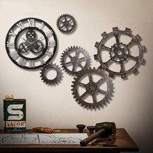 Modern Retro Wall Clock Antique Metal Gear Clocks Mechanical Roman Numerals Numbers Wallclock Kol Saati Watch Wall Home Decor578
