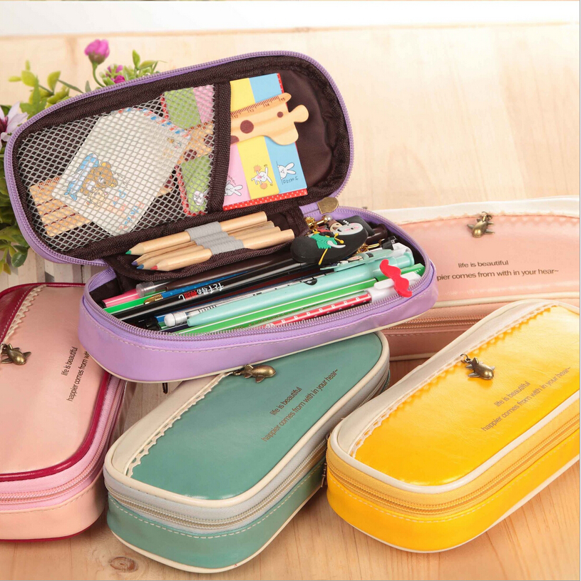 2016 High Quality School Stationary For Students Kawaii Leather Square Pencil Case Creative Large Capacity Cosmetic Bags 2017 high quality school supplies stationary pu leather pencil case students kawaii soft creative milk bag large bags