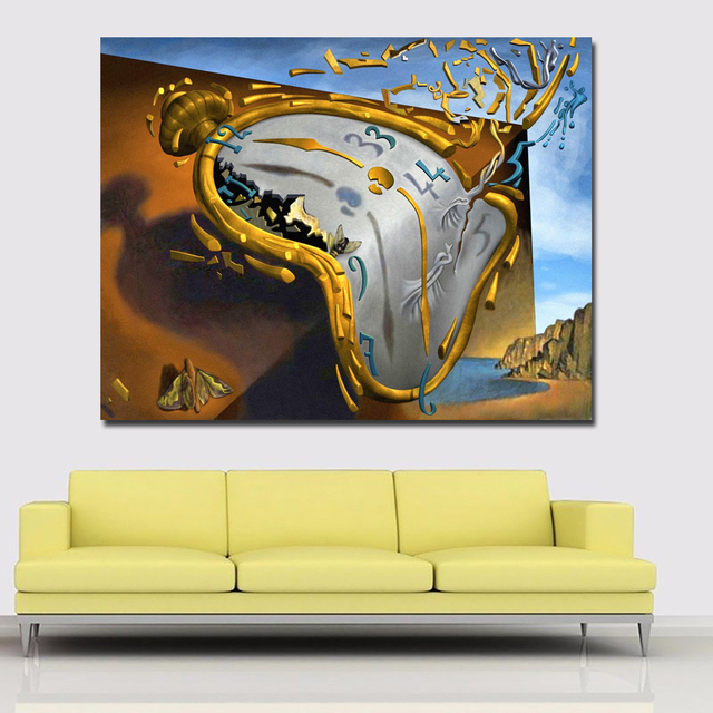 SELFLESSLY Post Modern Abstract Art Clock By Salvador Dali Canvas ...