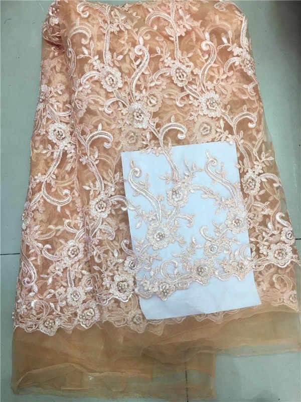 Нигерийское кружево ткань 2019 высокое качество, кружевное желтое платье кружевной материал для свадьбы белого цвета в африканском стиле с бисером французская кружевная ткань в нигерийском стиле ткани розового цвета