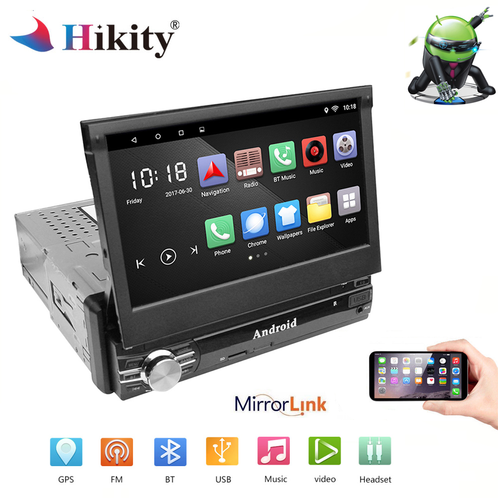 Hikity Car Radio Android Stereo 7 HD Autoradio 1din Touch Screen GPS Navigation Bluetooth With SD/FM/MP4/USB/BT Support camera