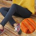 Stripe quente Grosso Magro Jeggings Leggings Mulheres Inimigo Velo de Veludo Inverno Linede Preto Leggings Treino MF3657412