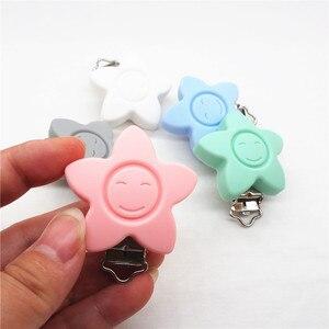 Image 3 - Chenkai chupeta facial de silicone, flor de silicone para sorriso, suporte de mordedor, clipes diy, estrela do bebê, acessórios de brinquedo, sem clippa, 20 peças