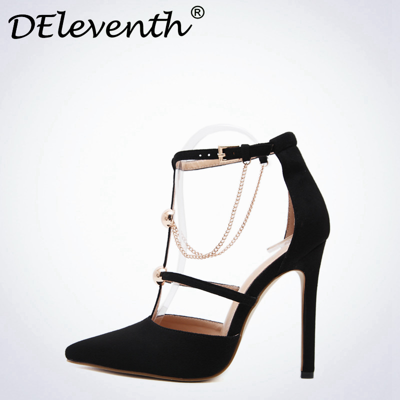 DEleventh Classics Women Mary Janes Ankle Strap Chain Pointed Toe High Heels wedding Office Career Shoes Pumps zapatos mujer new fashion thick heels woman shoes pointed toe shallow mouth ankle strap thick heels pumps velvet mary janes shoes