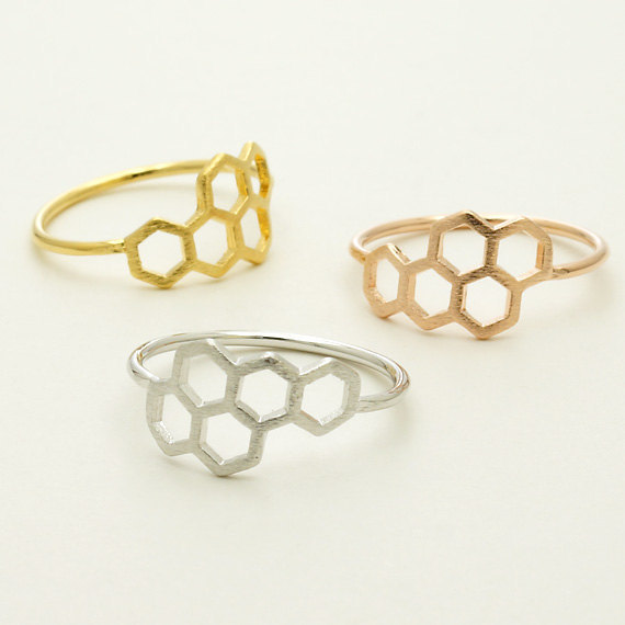 Daisies New Fashion Honeycomb Shape and Linked Hexagon Finger Ring for Women Bir