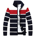 Free shipping Hot Sale Men's Sweater 2017 autumn new arrival striped cardigan sweater Fashion stand collar men sweater 55hfx