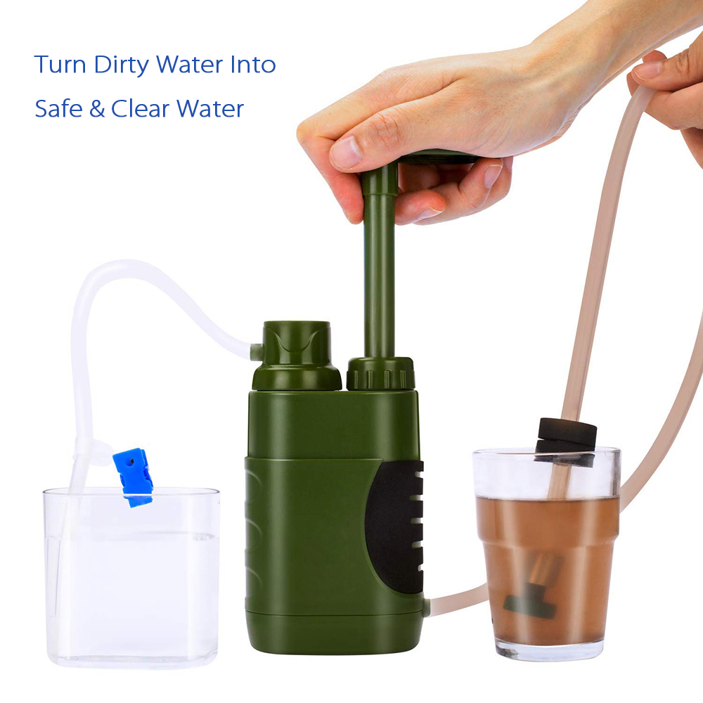 Camping Hiking Emergency Outdoor Water Filter Straw Water Filtration System Water Purifier for Family Preparedness