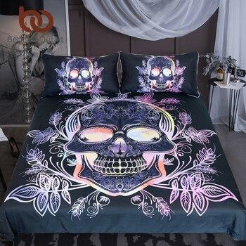 Beddingoutlet Gothic Tengkorak Set Tempat Tidur Daun Paisley Selimut Penutup Set Merah Muda Ungu Seprai Bunga Bergaya Tekstil Rumah 3 Pcs