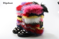 Winter Luxury Handmade Mixed Color Fox Hair Snow Boots Genuine Leather Winter Shoes Women Botas Crystal Colorful Fur Boots 43