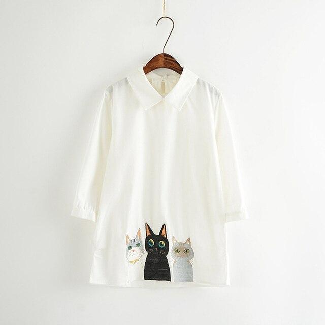 Абсолютно Чистый белый лето женщина питер пэн воротник рубашки мультфильм прекрасные кошки вышивка девушку мода повседневная блузка рубашка