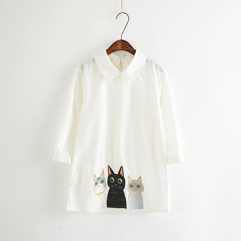 Marca pura blanco verano femenino Peter Pan collar camisetas dibujos  animados gatos bordado mujer moda casual blusa camisa f6b510b219