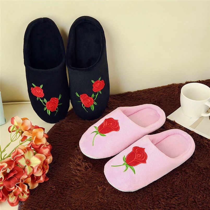 Mooie Dames Huisvloer Zachte Vrouwen Indoor Slippers Katoen Stof Schoenen Thuis Slippers Korte Pluche Warme Zachte Huis Schoenen # EEN