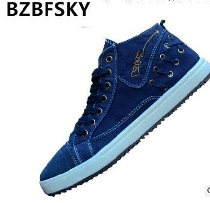 2015 New Men Shoes Fashion Spring/Summer Breathable Men Casual Shoes Korean High-top Lace-up Men Canvas Shose Men Flats Shoes